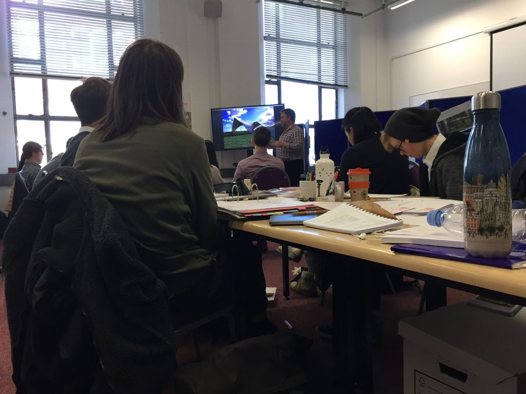 students working in the just timber office