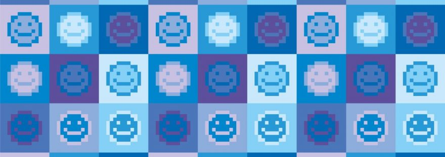 emoji on a blue background